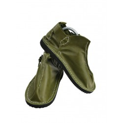 Handmade leather Vagabond shoes in olive color.