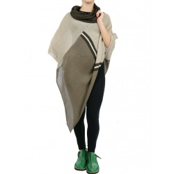 Colorful turtleneck linen poncho for women in shades of natural linen and brown.