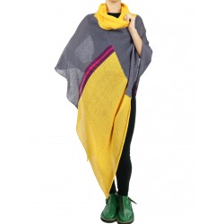 Yellow and gray women's turtleneck poncho made of linen.
