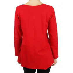 Red asymmetrical blouse made of sweatshirt fabric.