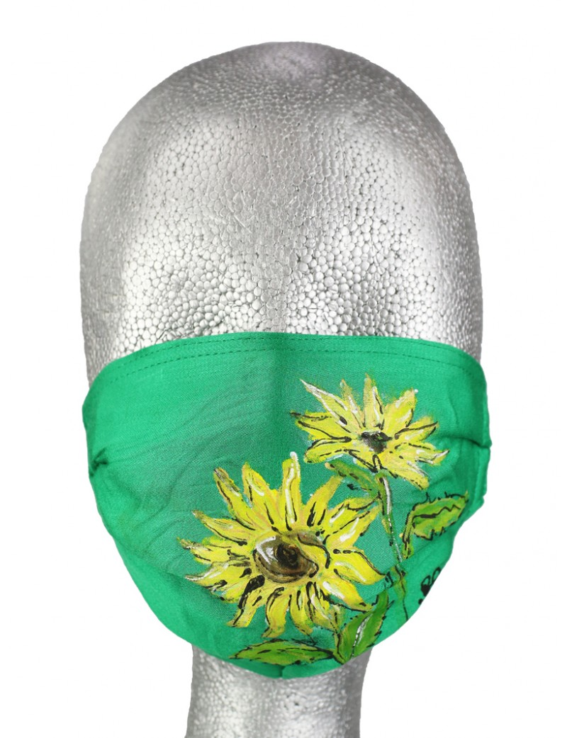 Hand-painted protective mask made of light fabric.