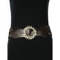 Women's vintage dark brown leather belt.