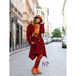 Short, maroon women's coat with a hood made of steamed wool.