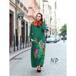 Hand-painted long green oversize dress.