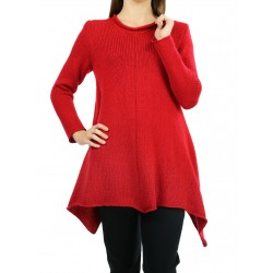 Ladies' red wool sweater made of soft yarn.