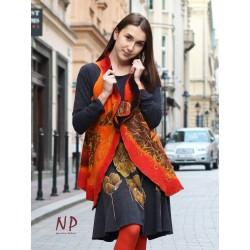 Women's woolen vest made of felted wool on silk.