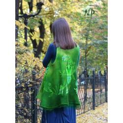 Women's vest, hand-felted with merino wool