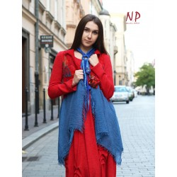 Original woolen vest, felted on silk and cotton
