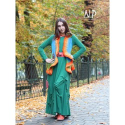 Green knitted dress with ruffles