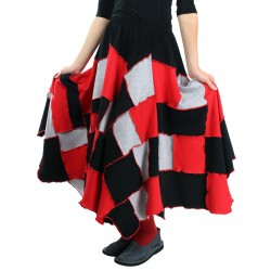 A flared skirt made of colorful pieces, patchwork