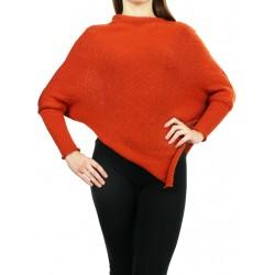 Orange ladies poncho with sleeves