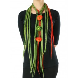 Multicolored necklace made of felted string Dreadlocks