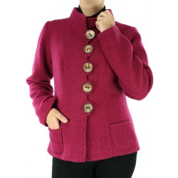 Jacket with a stand-up collar, buttoned