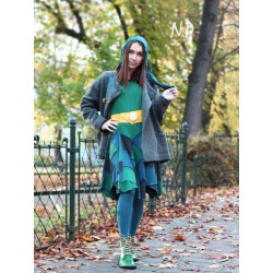 Short flared dress with a hood, patchwork