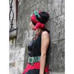 Women's head turban made of linen patchwork fabric