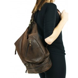 Brown backpack with a shoulder bag function