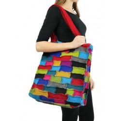 A large patchwork shoulder bag made of steamed wool