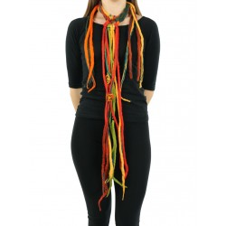 Colorful necklace made of felt cord dreadlocks