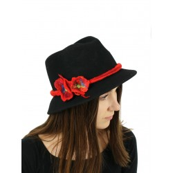 Black women's Fedora hat decorated with a felted flower
