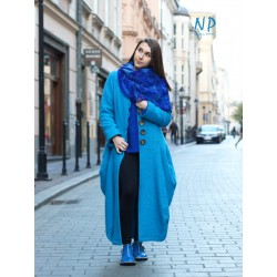 Long blue winter coat made of steamed wool