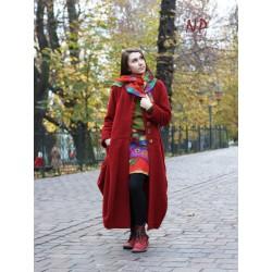 Long, burgundy winter coat made of steamed wool