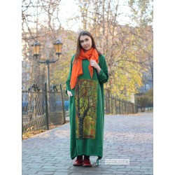Hand-painted green oversize Podlasek dress
