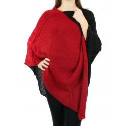 Women's knitted acrylic wool poncho