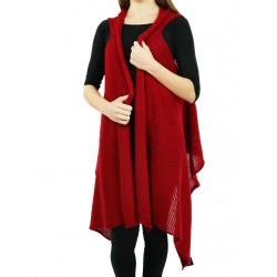 Women's red wool-acrylic vest