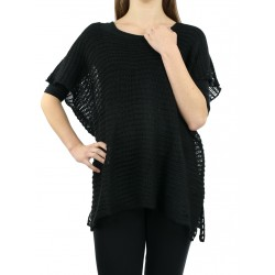 Black, openwork blouse made of acrylic and woolen yarn