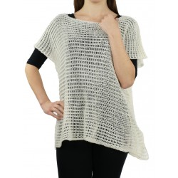White openwork blouse made of acrylic and woolen yarn