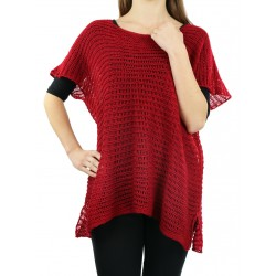 A red openwork blouse made of acrylic wool