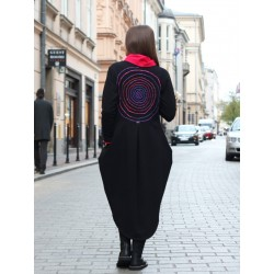 Black sweatshirt women's coat made in the form of a cardigan and tailcoat.