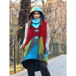 Long vest with a hood made of steamed wool in the form of patchwork