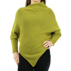 Olive poncho with sleeves made of woolen yarn