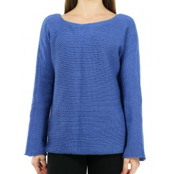 Simple blue oversize sweater made by hand from woolen yarn