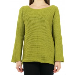 Simple olive green oversize sweater made by hand from woolen yarn