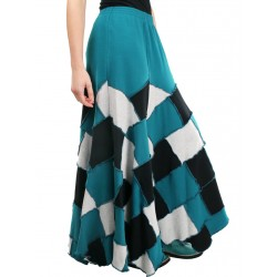 Wide patchwork skirt made of sweatshirt fabric