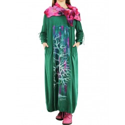 Green oversize knitted dress, hand painted.