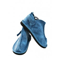 Blue Vagabond shoes, hand-sewn by Trek