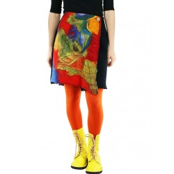 Mini wrap skirt with hand-felted patterns.