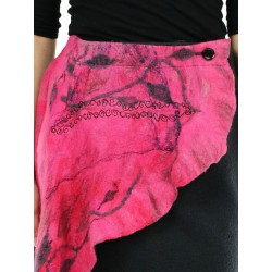 Wrap skirt with hand-felted patterns.