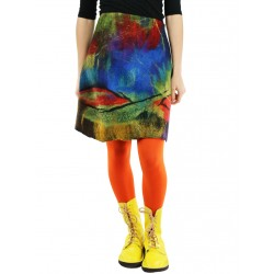 Short pencil skirt in steamed wool with hand-felted patterns.