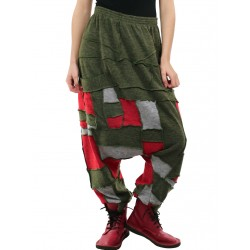 Alladyn's pants made of many pieces, creating comfortable patchwork pants