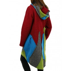 Short wool coat with a hood, made in the form of patchwork.