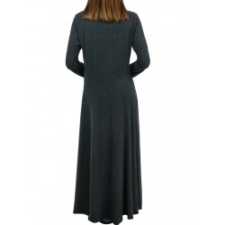 Long, gray, knitted dress, hand-painted.