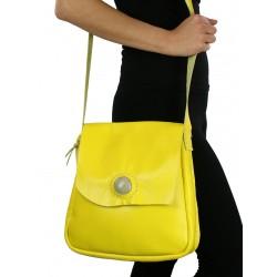 Yellow leather messenger bag