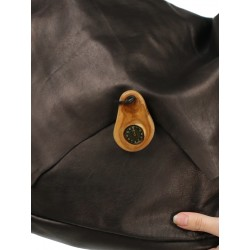 A large brown leather shoulder bag, hand-sewn, available at the Naturally Podlasek store