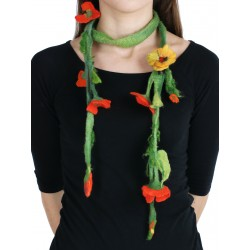 Felted long necklace in the form of a twig