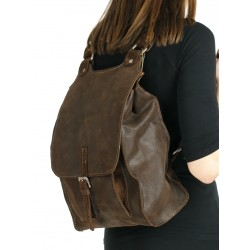 Brown leather backpack for women and men available in the NP store