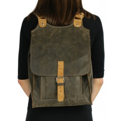 Olive leather backpack for women and men available in the NP store